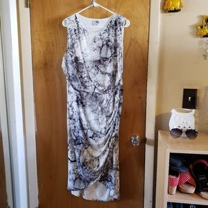 Asos marbled rushed side midi dress